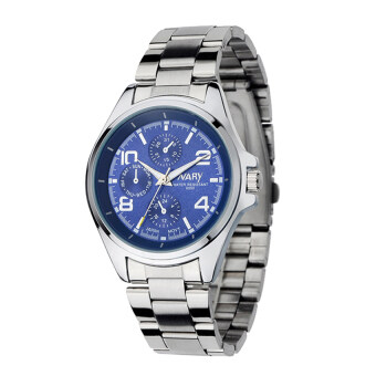 Harga NARY 6050 Men's Classical Stainless Steel Band Quartz Watch (blue)