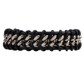 Harga Fashion Women Men Punk Leather Bangle Alloy Wristband Cuff Bracelet (Black)