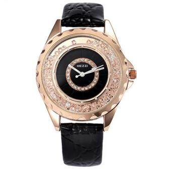 Harga High Quality KEZZI 742 Leather strap Water Resistant Fashion lady Rhinestone Dial Watches Women Dress Quartz Wristwatches (Black)