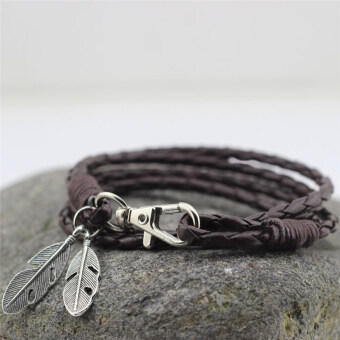 Harga PU Leather Feather Men Charm Bracelets Bangles Fashion Jewelry Accessories Brown