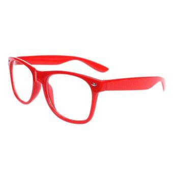 Harga Unisex Oversize Vintage Inspired Eyewear Geek Nerd Clear Lens Shades Glasses Red