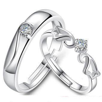 Harga Couple Rings Jewellry 925 Silver Adjustable Lovers Ring Jewelry E005