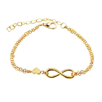 Harga Gold Silver Lucky Number 8 Designed Love Heart Chain Bracelet Bangle Jewelry Gold