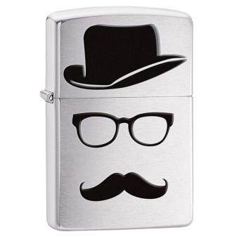 Harga Zippo 28648 USA Windproof Lighter- Brushed Chrome- Moustache & Hat (Silver)