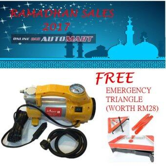 Harga RAMADHAN SALES- 206 Car Air Compressor Auto Tire Inflator FREE Auto Emergency Warning Triangle