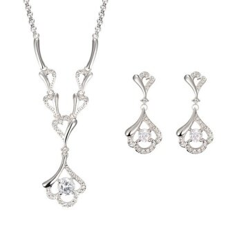 Harga Sage Diamond Gold Necklace And Earring Set - Elegant Design Diamond