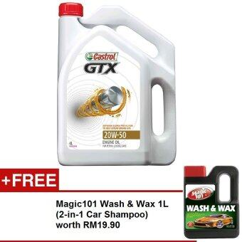 Harga Castrol GTX 20W-50 SMCF 4 Liters FREE Magic101 Wash & Wax 1L worth RM19.90
