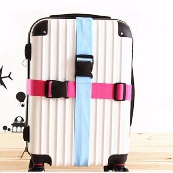Harga 4PCs Adjustable Suitcase Luggage Straps Travel Buckle Baggage Tie Down Belt Lock Blue