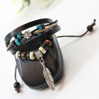 Harga 1pcs New Indian Style Wooden Bead Wrist Bracelet Leather Feather Bracelet-