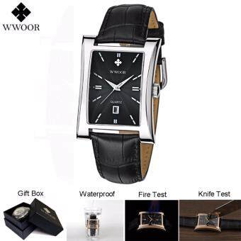 Harga Loveu Men Watches Best Gift Square Quartz Watch Calendar Luminous Functions Waterproof Ultra-thin Man Business Leather Wrist Watches, Silver Black