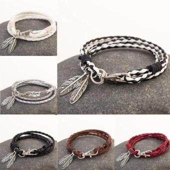 Harga Fancyqube Elegant PU Leather Charm Friendship Bracelets & Bangles Feather Accessories Wedding Men Jewelry New