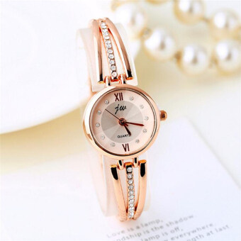 Harga 2016 Luxury Rhinestone Watches Women Stainless Steel Quartz Watch For Ladies Dress Watch Gold Clock relogios(Rose Gold)