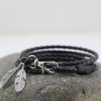 Harga PU Leather Feather Men Charm Bracelets Bangles Fashion Jewelry Accessories Black