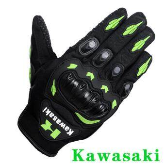 Harga New Arrival Kawasaki Motorcycle Gloves Retro Moto Racing Motocross Full Finger Gloves Guantes Drop Resistance Anti Slip (Size L)