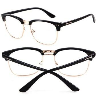 Harga Cocotina Fashion Vintage Retro Half Frame Clear Lens Glasses Nerd Geek Eyewear Eyeglasses - Bright Black & Gold