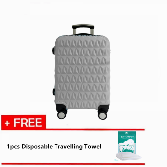 Harga Travelling Pack: Triangle Diamond 24'' Travel Luggage [Grey] With Free 1pc Disposable Travelling Towel