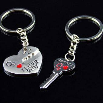 "Harga Fancytoy 2pcs Silver Couples Lover Metal Key Chain Ring ""Key To My Heart"" I LOVE YOU"