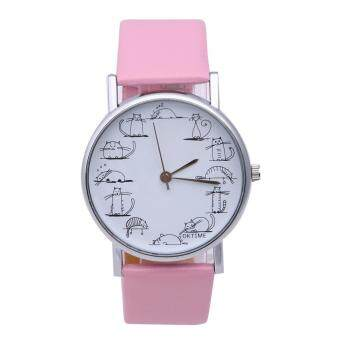 Harga azy Cat Cartoon tudenteather Bagnd Anaog Quartz Writ Watch(Pink)