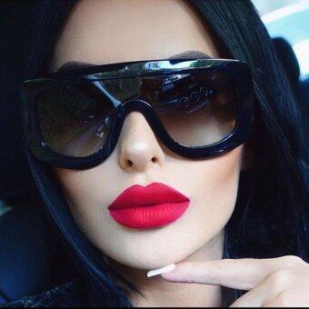 Harga Oversized Sunglasses Rivet Brand Designer Celebrity Kim Kardashian Sexy Sun Glasses for Flat Top Ladies Female(black leopard)