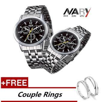 Harga NARY 6033 Dial Classic Couple Lover Women Men Quartz Full Stainless Steel Wrist Watch Black +Free Adjustable Lovers Rings (Buy 1 Get 1 Free)