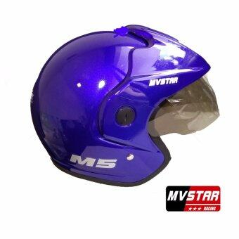 Harga MV STAR M5 Helmet Candy Blue Black Medium/Large
