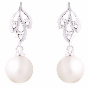 Harga Lazo Diamond White Gold Diamond Pearl Earrings