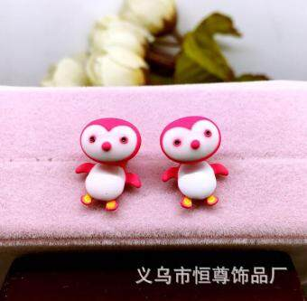 Harga 1Pair Trendy Cute Penguin Kids Girl Stud Earrings Cartoon 3D Final Fantasy Earrings Fashion Jewelry Women Gift-Rose