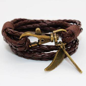 Harga New Arrival Elegant PU Leather Charm Friendship Bracelets Bangles Feather Accessories Wedding Men Jewelry New(Brown)
