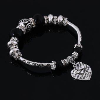 Harga Vintage European Beads Charm Bracelet Love Heart Letters Crystal Bangles for Women Silver Plated Jewelry Gift