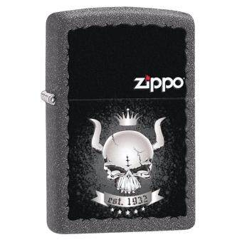 Harga Zippo 28660 USA Windproof Lighter- Iron Stone Matte- SKULL CROWN Color Imaging (Grey+Black)