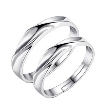 Harga Prince&Princess Silver Couple Rings Wedding Band His and Her Promise Rings + BOX