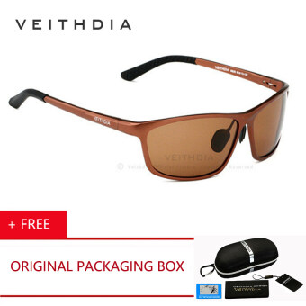 Harga VEITHDIA Original Brand LOGO Designer Driving Mens HD Polarized Sunglasses Accessories Oculos Male Sun Glasses Eyewear With Box ( Brown)