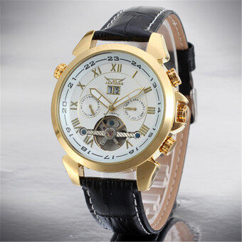 Harga JARAGAR Stainless Steel Case Leather Strap Men Male Fashion Business Sport Casual Army Military Skeleton Automatic Mechanical Wrist Watch Gift Wristwatches