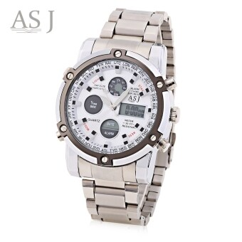 Harga ASJ B110 Men Dual Movt Sports Watch 3ATM Luminous Chronograph Alarm Calendar Display Wristwatch