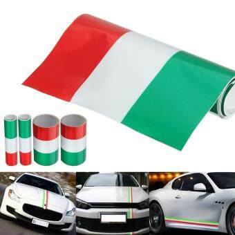 Harga 2PCS Italy Flag Stripe Car Hood Vinyl Sticker Decal New Universal 1.5M(Red+White+Green)