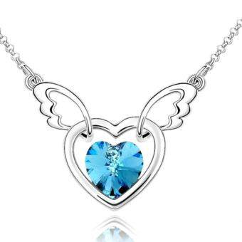Harga LOVENGIFTS Swarovski Lovey Dovey Pendant Necklace (Blue)