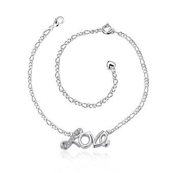 Harga Women Zircon LOVE English Letter Ankle Bracelet Silver Plated Jewelry Barefoot Sandal Beach Foot Chain