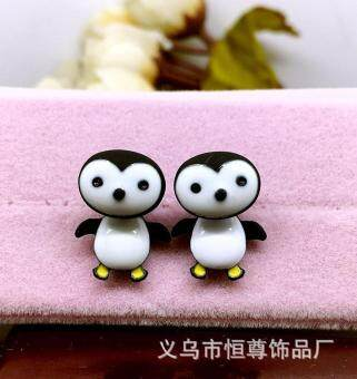 Harga 1Pair Trendy Cute Penguin Kids Girl Stud Earrings Cartoon 3D Final Fantasy Earrings Fashion Jewelry Women Gift-Black
