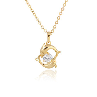 Harga Playing Couple Dolphin Crystal Necklace Lady Pendant Chain Jewelry Gold
