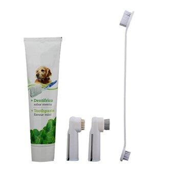 Harga PLATIM 3 Brushes Pet Dog Toothbrush Toothpaste Kit Set