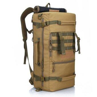 Harga Backpack Shoulder Bag 50L Hiking Camping Outdoor Travel (Khaki)