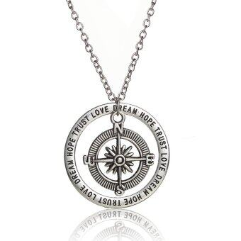 Harga Family Jewelry Retro Compass Hollow Round Trust Love Hope Dream Pendant Necklace Women Gift for Friend