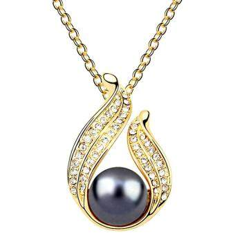 Harga LOVENGIFTS Swarovski Pearl Beauty Pendant Necklace (Grey)