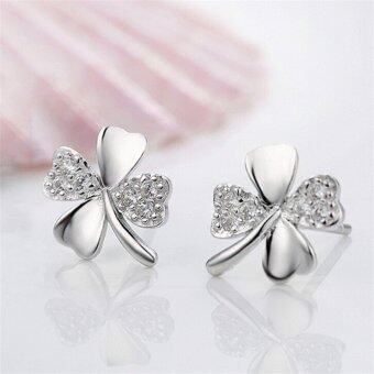 Harga Jetting Buy Womens 1 Pair Silver Plated Lucky Clover Love Ms Earrings Jewelry Fine Jewelry White