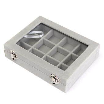 Harga 12 Grid Glass Jewel Watch Display Organizer Box Tray Holder Earring Storage Case Grey
