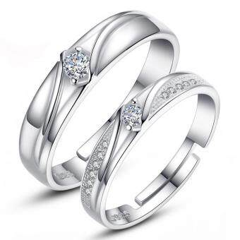 Harga Couple Rings Jewellry 925 Silver Adjustable Lovers Ring Jewelry E018