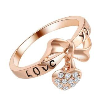 Harga Hequ Chic Korean Women Fashion LOVE Peach Heart Love Ring True Gold Bow Bridal Jewelry RoseGold-9