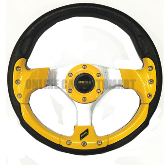 Harga MOMO 13 inch PU Steering Wheel/Drifting Steering Wheel/Racing Steering Wheel - YELLOW