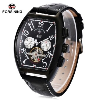 Harga MiniCar Forsining F201672801 Men Auto Mechanical Watch Tourbillon Calendar Genuine Leather Band Wristwatch Black(Color:Black)