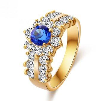 Harga Women Rings For Girls CZ Jewelry Gold Plated Ring Blue